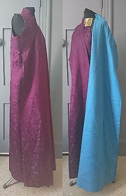 Antique / Vintage Chinese Purple Silk Damask Robe With Dudou
