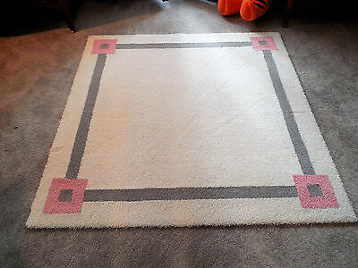 52 inch Square White Gray Pink Custom Rug Add an Initial Monogram