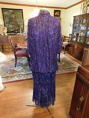 Beautiful Purple/blue Mother Of The Bride Or Groom Beaded 2-Piece Formal Size L