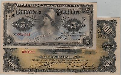 2 Paraguay Banknotes 5 And 100 Pesos 1907 Same Number 0014221 - 156 And 159 Unc