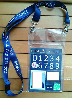 Ticket FINAL Champions Cardiff 2017 Juventus - Real Madrid PASS Lanyard ID CARD