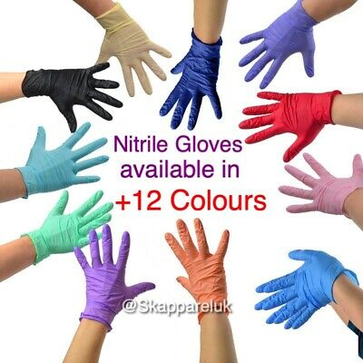 Pink Black White Blue Red Green Yellow Nitrile Gloves Medical Examination