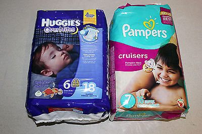 2 Packs - 34pc Sealed Baby Diapers 2010-13 Huggies Overnites Pampers Cruisers