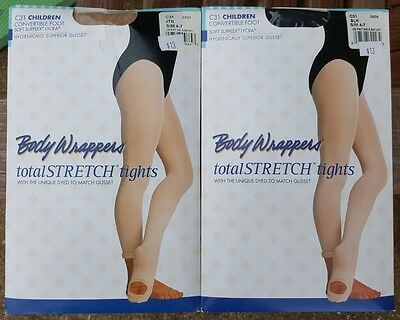 2 Body Wrappers Total Stretch Tights Children C31 Black Tan Small-Medium 4-7 New