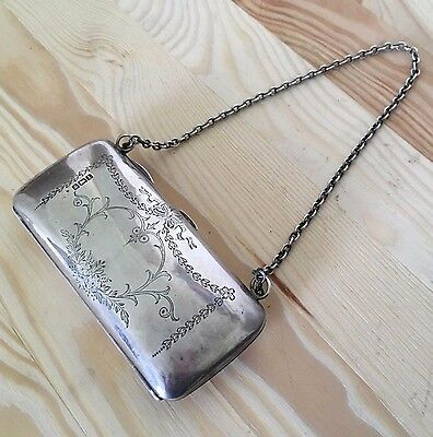 ANTIQUE STERLING SILVER ENGRAVED PURSE 1910 - something old for the bride