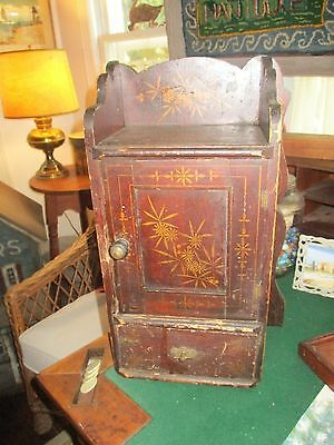 Antique Primitive Spice Apothecary Cupboard Pa Painted Decorated AAFA  Folkart
