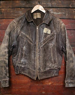 VTG 40s 50s HERCULES OUTERWEAR HORSEHIDE LEATHER BOMBER JACKET MOTORCYCLE 40/42
