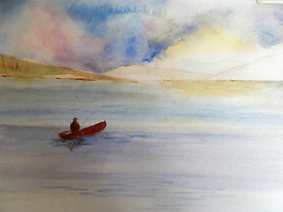 Waiting for a bite original watercolour impressionist watercolour painting