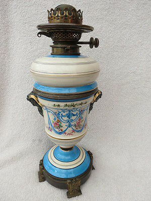 Antique Hinks Hand Painted Porcelain Oil Lamp Base