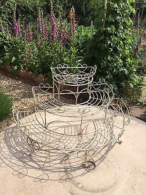 Cream vintage heart wire GARDEN PLANT ETAGERE or shop display stand