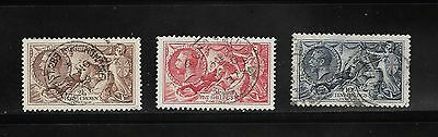 1934 2S 6D To 10S Set Seahorse Stamps Collection Used Light Clear Cancels #a