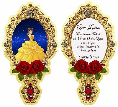 10 Beauty and the beast party Birthday Invitations Disney Printed front and back