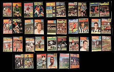 38 x  CHARLES BUCHAN'S FOOTBALL MONTHLY MAGAZINES - 1960s & 70s- All Shown