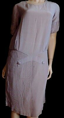 PUR VINTAGE 1925 robe soie GRISE T  40/42 / SILK DRESS