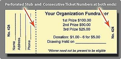 100 Event / Raffle Tickets -  Custom Printed, Numbered & Perforated Card Stock