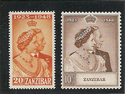 ZANZIBAR 1949 Royal Silver Wedding mounted mint