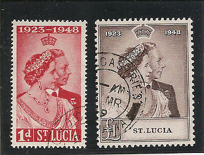 ST LUCIA 1948  Royal Silver Wedding pair fine used
