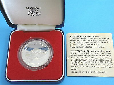 TRISTAN DA CUHNA 1977 - STERLING SILVER PROOF CROWN COIN - Silver Jubilee + CoA
