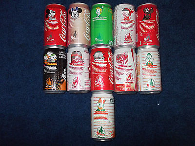 1986 COKE Coca-Cola DISNEY 15 YEARS Anniv CANS SEALED & EMPTY 11 CANS
