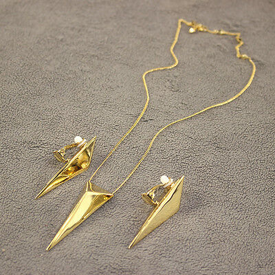 Alexis Bittar Large Pyramid Pendant Necklace And Earring Set Fashion Jewelry