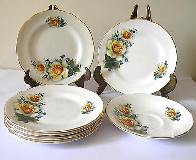Set 6 Fine Bone China Royal Sutherland Staffordshire Dessert Plates
