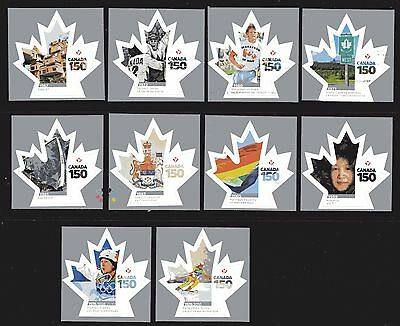 2017 SC# Celebrating Canada 150 Years - 10 Stamps from booklet  M-NH