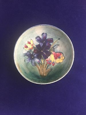 RARE William Moorcroft Miniature Footed Bowl Spring Flowers Pattern 1930s