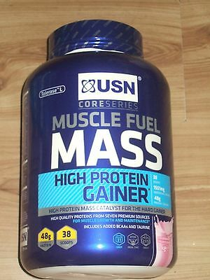 USN Muscle Fuel Mass High Protein Gainer STRAWBERRY FLAVOUR 2kg FREEPOST