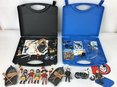 2x Playmobil CARRY CASE Set Bundle 5891 City Action Police 5894 Pirates + Extras