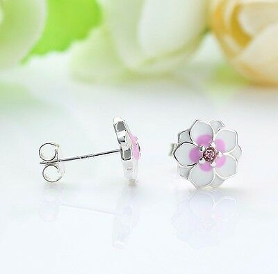 925 Silver STERLING PINK Magnolia Blooms FLORAL Daisy STUDS EARRINGS+ gift Box