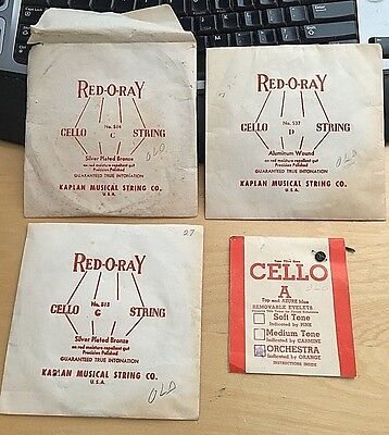 Vintage Antique Red-O-Ray Cello String Lot Nutone Eyelets