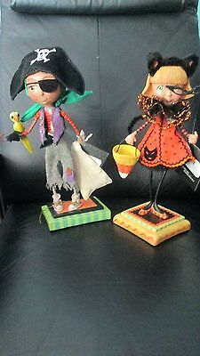 Set of 2 Limited Edition Katherine's Collection Halloween Figurines Pirate & Cat