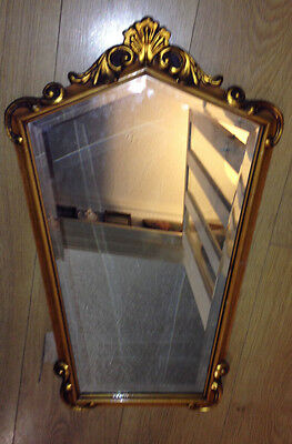 Antique  French style parcel gilt lozenge bevelled glass arched wall mirror.