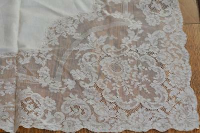 Elaborate Vintage French Alencon Lace Linen Tablecloth 12 Napkins Tag 108 x 72