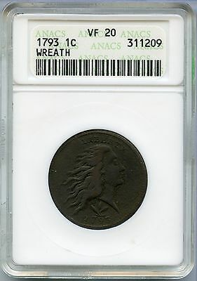 1793 Flowing Hair Cent ANACS VF 20 - Wreath Reverse Penny - MM950