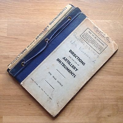 Original Wwii Manual Covers: Directions For The Use Of Artillery Instruments