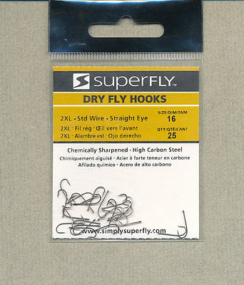SuperFly - dry fly Hooks - size 16 - qty 25