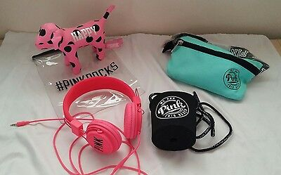 "VICTORIA'S SECRET LOT Pink Headphones &Pink Fannypack W/ Coozie & VS ""Pink"" Dog"
