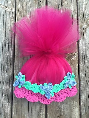 Princess Poppy Hat With Hair Troll Hat With Hair Handmade Crochet Trolls Hat