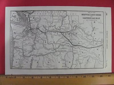 RARE 1889 SEATTLE LAKE SHORE & EASTERN RAILROAD SYSTEM MAP CONNECTIONS WA ID RRs