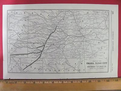 Rare 1889 Omaha Dodge City & Southern Railroad System Map Kansas W Connections
