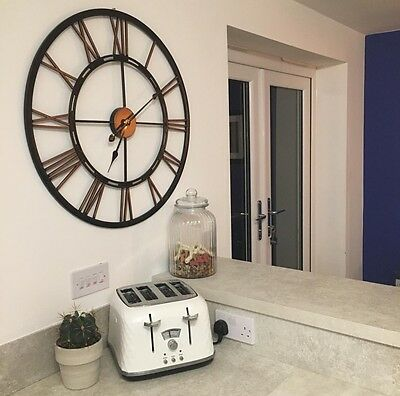 Black & Copper Extra Large Iron Metal Clock 71cm Roman Numerals Cut Out BN