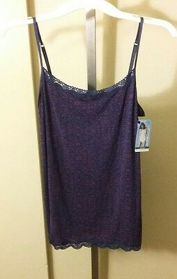 Jockey Womens Purple & Violet Design Print Lace Trim Cami XL Tactel & Lycra NWT
