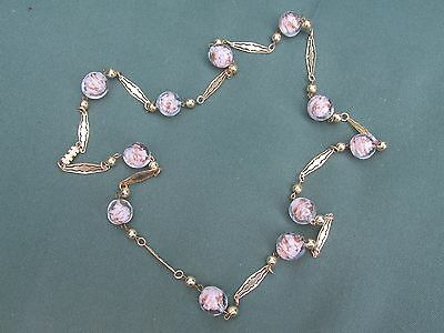 Vintage Murano Venetian Pink & Gold Sommerso Aventurine Glass Bead Necklace