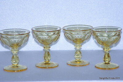 6 Imperial Glass Old Williamsbug Yellow Topaz Tall Sherbet/Champagne Glasses