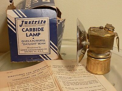 "Vintage Justrite Carbide Lamp, Miners Lamp in Box with Instructions 4"" Reflector"