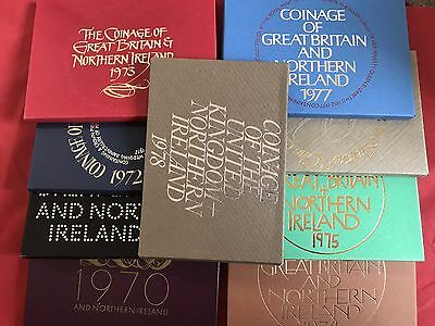 1970 1971 1972 1973 1974 1975 1976 1977 1978 Royal Mint 9 X Proof Coin Sets