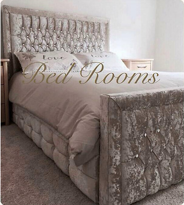 Hilton Bed Frame In Crushed Velvet In 4Ft6, 5Ft King Size