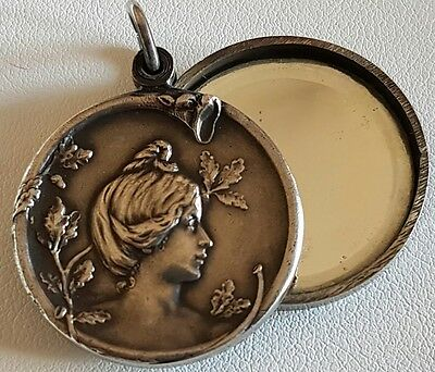 Antique French Art Nouveau Lady Silver Plated Slide Mirror Locket Pendant