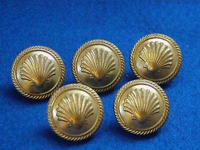 5 x 22mm Vintage Brass Tunic Buttons. SHELL Tankers Shipping Company